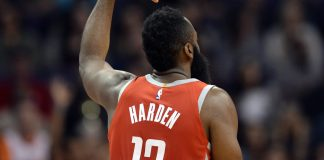 Nov 16, 2017; Phoenix, AZ, USA; Houston Rockets guard James Harden (13) celebrates a basket against the Phoenix Suns during the first half at Talking Stick Resort Arena. Mandatory Credit: Joe Camporeale-USA TODAY Sports