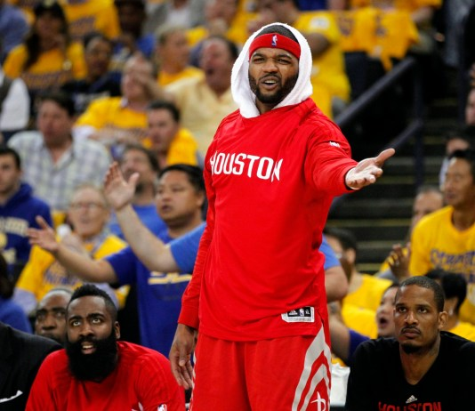 Apr 18, 2016; Oakland, CA, USA; Houston Rockets forward Josh Smith (5) reacts to a foul call against the Golden State Warriors in the second quarter in game two of the first round of the NBA Playoffs at Oracle Arena. Mandatory Credit: Cary Edmondson-USA TODAY Sports