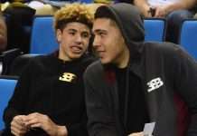 Mar 4, 2017; Los Angeles, CA, USA; UCLA Bruins guard Lonzo Ball (2) siblings LaMelo Ball (left) and LiAngelo Ball (left) attend the UCLA Bruins game against Washington State Cougars. at Pauley Pavilion. Mandatory Credit: Richard Mackson-USA TODAY Sports