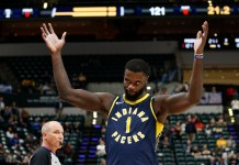Nov 27, 2017; Indianapolis, IN, USA; Indiana Pacers guard Lance Stephenson (1) reacts against the Orlando Magic during the fourth quarter at Bankers Life Fieldhouse. Mandatory Credit: Brian Spurlock-USA TODAY Sports