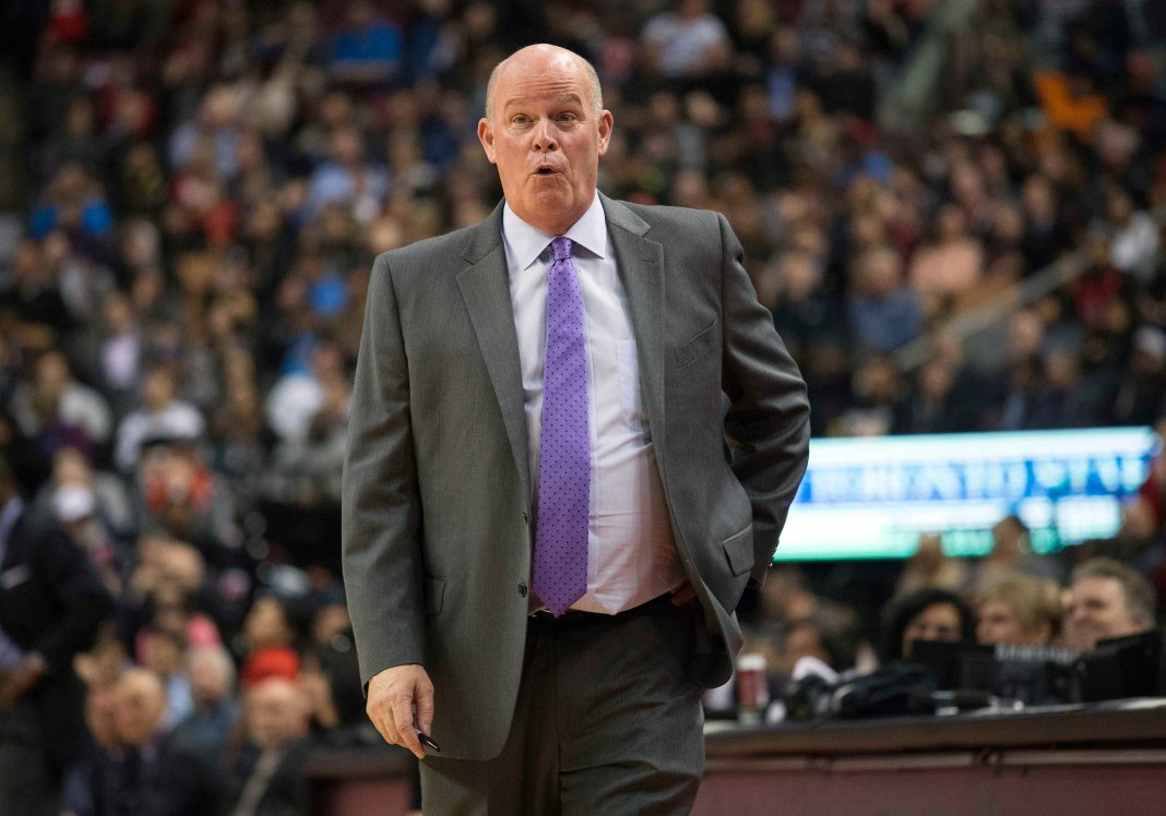 Nov 29, 2017; Toronto, Ontario, CAN; Charlotte Hornets head coach Steve Clifford reacts in the third quarter during a game against the Toronto Raptors at Air Canada Centre. Mandatory Credit: Nick Turchiaro-USA TODAY Sports