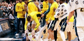Nov 30, 2017; Denver, CO, USA; Denver Nuggets players surround guard Will Barton (5) and celebrate after the game against the Chicago Bulls at the Pepsi Center. Mandatory Credit: Isaiah J. Downing-USA TODAY Sports