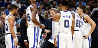 Dec 1, 2017; Orlando, FL, USA; Golden State Warriors head coach Steve Kerr huddles up with guard Stephen Curry (30), forward Kevin Durant (35), guard Patrick McCaw (0), forward Draymond Green (23) and guard Klay Thompson (11) during the second quarter at Amway Center. Mandatory Credit: Kim Klement-USA TODAY Sports