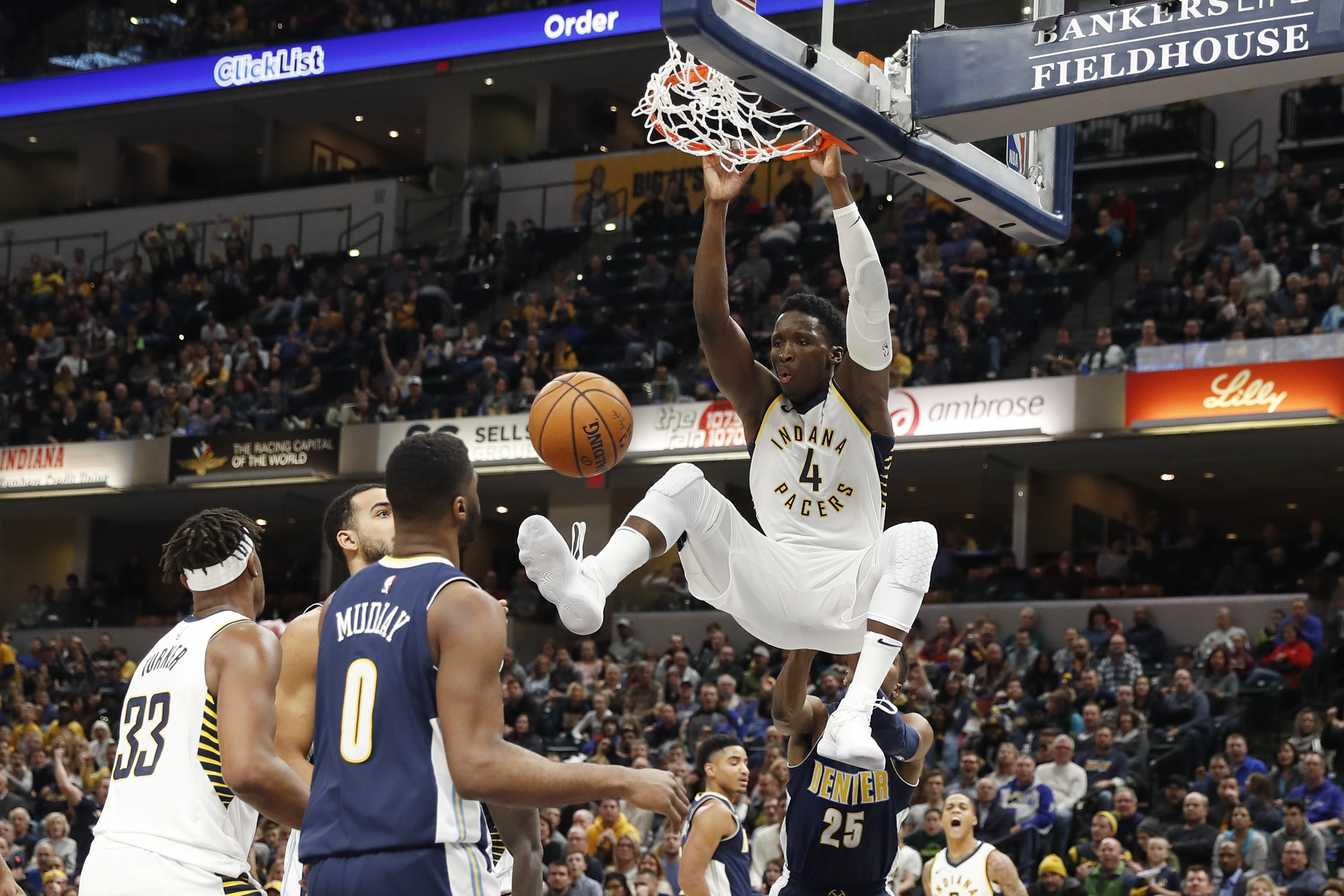 Oladipo scores career-high 47, Pacers top Nuggets in OT