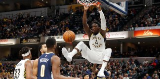 Dec 10, 2017; Indianapolis, IN, USA; Indiana Pacers guard Victor Oladipo (4) dunks against the Denver Nuggets during the 3rd quarter at Bankers Life Fieldhouse. Mandatory Credit: Brian Spurlock-USA TODAY Sports