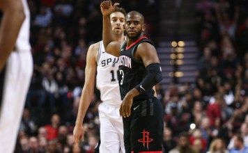 Dec 15, 2017; Houston, TX, USA; Houston Rockets guard Chris Paul (3) reacts after making a basket during the first quarter against the San Antonio Spurs at Toyota Center. Mandatory Credit: Troy Taormina-USA TODAY Sports