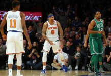 Dec 21, 2017; New York, NY, USA; New York Knicks small forward Michael Beasley (8) reacts during the fourth quarter against the Boston Celtics at Madison Square Garden. Mandatory Credit: Brad Penner-USA TODAY Sports
