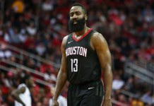 Dec 22, 2017; Houston, TX, USA; Houston Rockets guard James Harden (13) reacts after a play during the third quarter against the LA Clippers at Toyota Center. Mandatory Credit: Troy Taormina-USA TODAY Sports