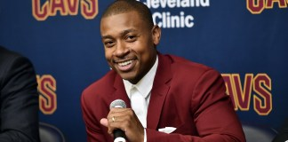 Sep 7, 2017; Cleveland, OH, USA; New Cleveland Cavaliers player Isaiah Thomas talks to the media during a press conference at Cleveland Clinics Courts. Mandatory Credit: Ken Blaze-USA TODAY Sports