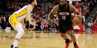 Dec 31, 2017; Houston, TX, USA; Houston Rockets guard James Harden (13) drives to the basket while Los Angeles Lakers guard Tyler Ennis (10) defends during the second quarter at Toyota Center. Mandatory Credit: Erik Williams-USA TODAY Sports