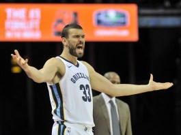 Dec 23, 2017; Memphis, TN, USA; Memphis Grizzlies center Marc Gasol (33) reacts during the first half against the LA Clippers at FedExForum. Mandatory Credit: Justin Ford-USA TODAY Sports