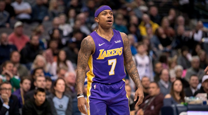 Feb 10, 2018; Dallas, TX, USA; Los Angeles Lakers guard Isaiah Thomas (7) plays in his first game as a Laker against the Dallas Mavericks at the American Airlines Center. Mandatory Credit: Jerome Miron-USA TODAY Sports