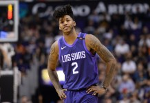 Feb 10, 2018; Phoenix, AZ, USA; Phoenix Suns guard Elfrid Payton (2) looks on during the game against the Denver Nuggets in the first half at Talking Stick Resort Arena. Mandatory Credit: Jennifer Stewart-USA TODAY Sports