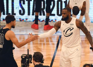Feb 18, 2018; Los Angeles, CA, USA; Team LeBron forward Anthony Davis of the New Orleans Pelicans (23 and Team Stephen guard Stephen Curry of the Golden State Warriors (30) shake hands before the 2018 NBA All Star game at Staples Center. Mandatory Credit: Richard Mackson-USA TODAY Sports