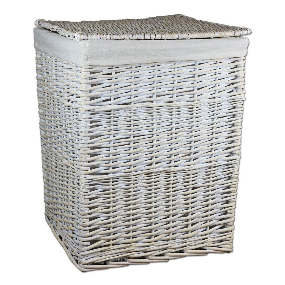 Keswick White Wash Square Wicker Laundry Basket The Basket Company