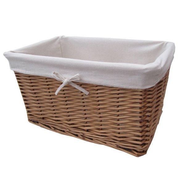 Lined Wicker Storage Basket Natural