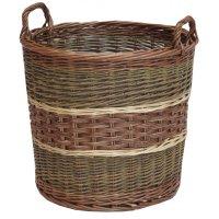 Glastonbury Round Wicker Log Storage Basket Willow Large ...