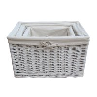 White Wicker Rectangular Deep Storage Basket