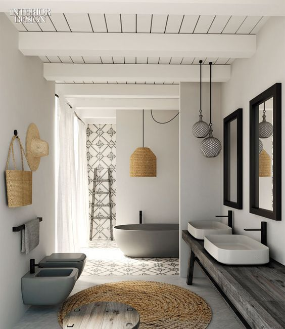 decoración baños con mimbre