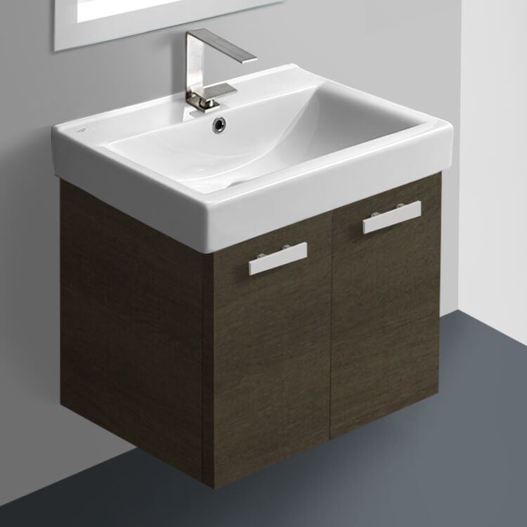 Acf C143 By Nameek S Cubical 24 Inch Grey Oak Wall Mount Bathroom Vanity With Fitted Ceramic Sink Thebathoutlet