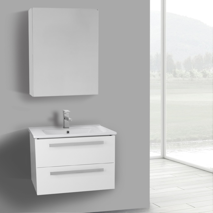 25 inch glossy white wall mount bathroom vanity set 2 drawers medicine cabinet included