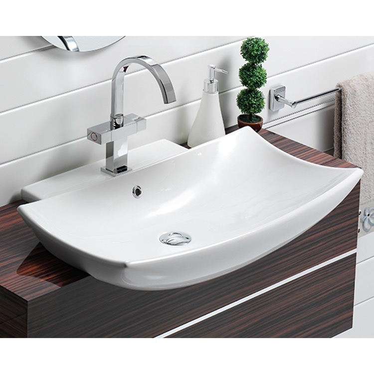 curved rectangular white ceramic wall mounted or semi recessed sink