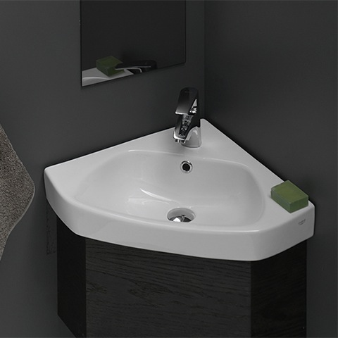 CeraStyle 001900U By Nameeks Arda Small Corner Ceramic Drop In or Wall Mounted Bathroom Sink