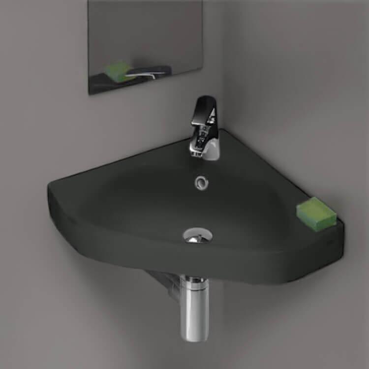 small corner matte black ceramic drop in or wall mounted bathroom sink