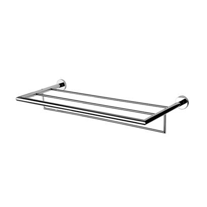 chrome towel rack or towel shelf with towel bar