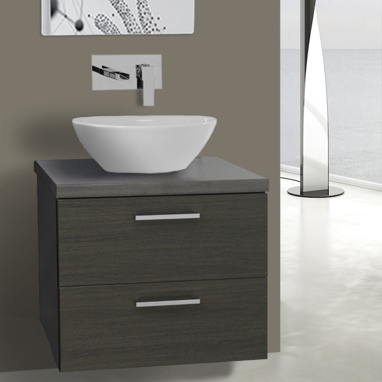 22 inch grey oak vessel sink bathroom vanity wall mounted