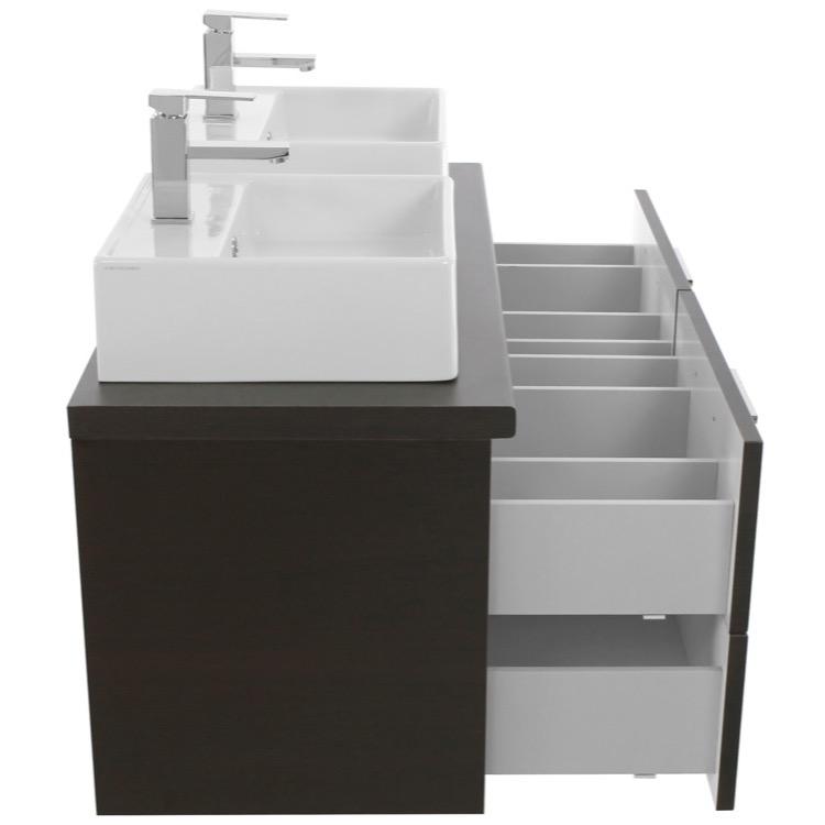 45 inch wenge double vessel sink bathroom vanity wall mounted