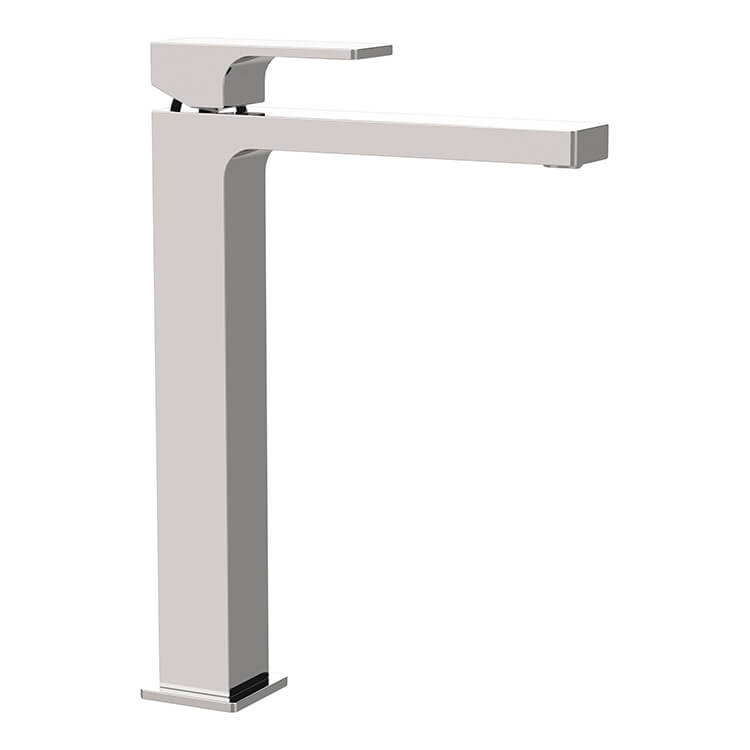 modern vessel sink faucet in chrome