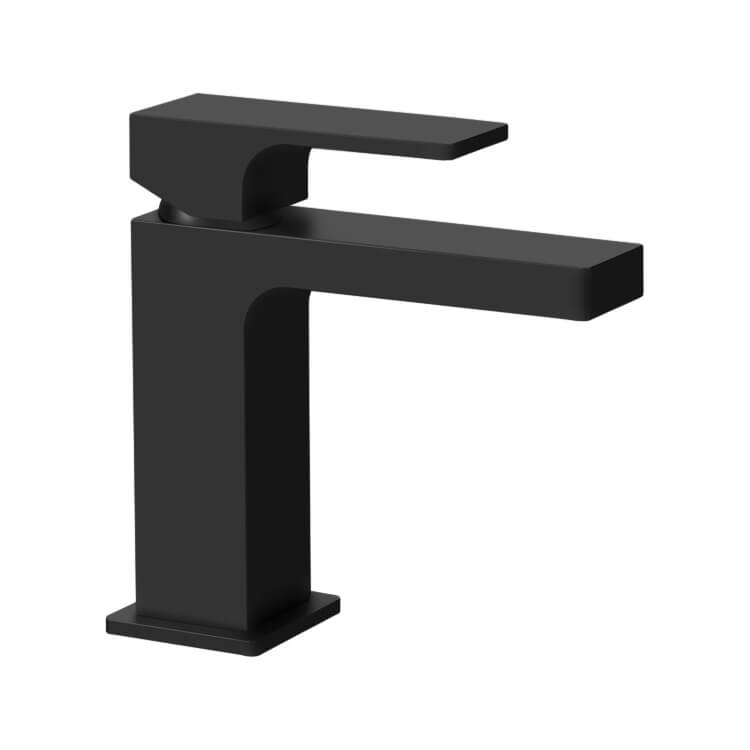 modern single handle bathroom faucet in matte black