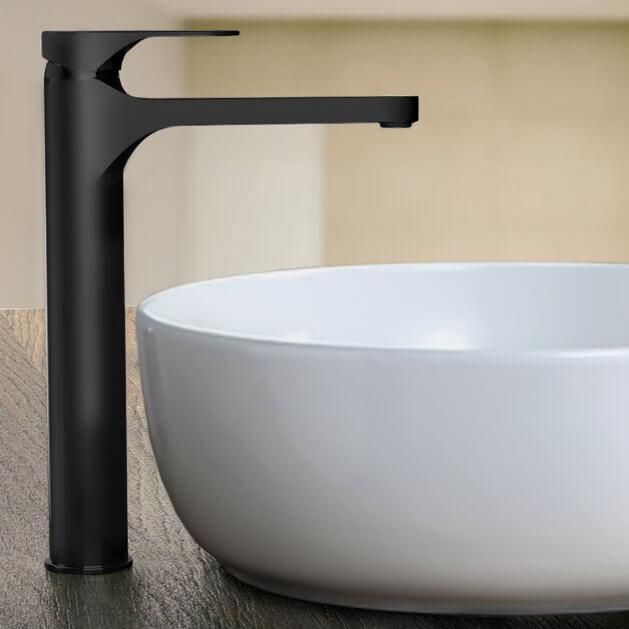 matte black round vessel sink faucet