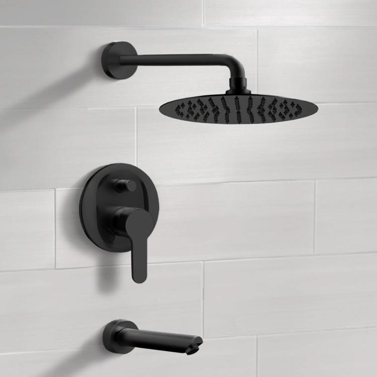 matte black tub and shower faucet set with rain shower head