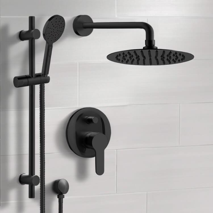 matte black shower set with rain shower head and hand shower