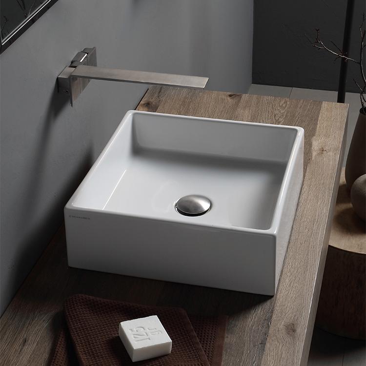 square white ceramic vessel sink