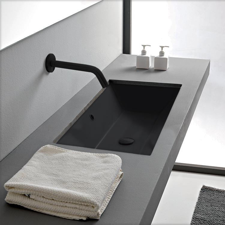 rectangular matte black ceramic undermount sink