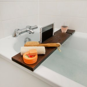 Bath Tray Rack Pine Wood Handmade  with IPad Phone Holder (English Oak)