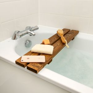 Wooden Over The Bathtub Rack Oak Dye