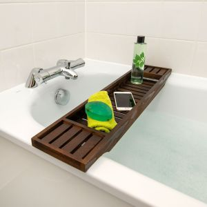Wooden Brown Walnut Birch Wood BathTub Rack Bridge
