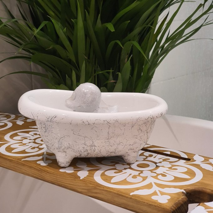 Mini White Bath with silver marble effect