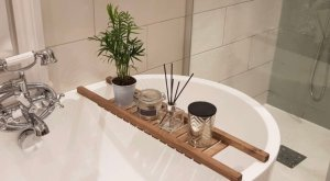 Wooden Bath Rack Grid Walnut