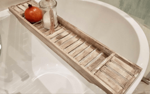 Wooden Cappuccino Brown Distressed White Bath Rack