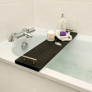 Plain Wooden Bath Rack Tray With Silver Handles