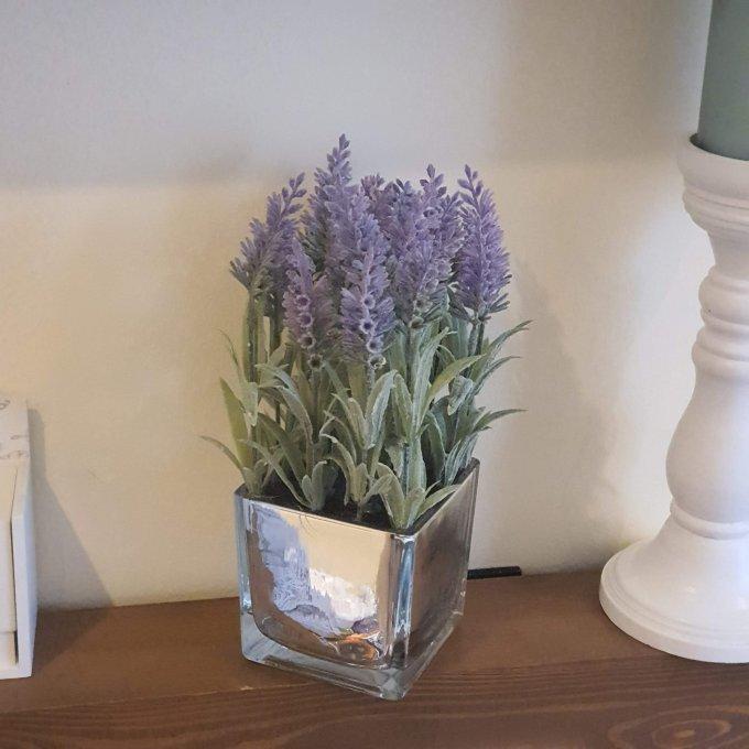 Silver Mirrored Lavender Vase