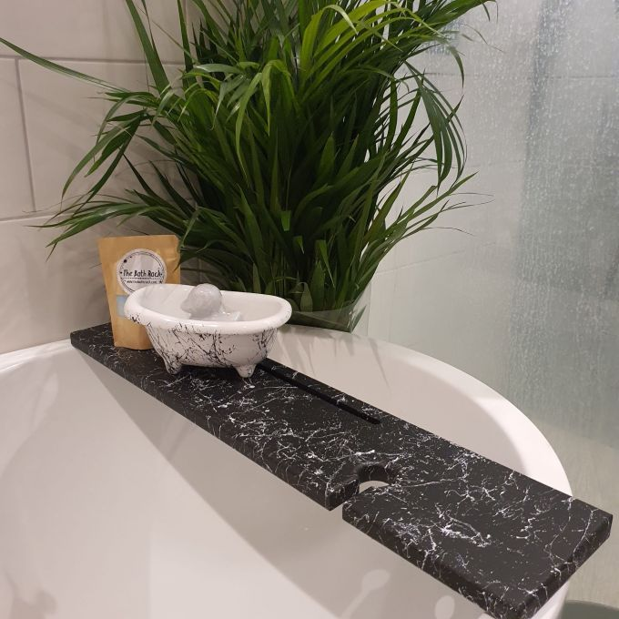 Black&White Wooden Bath Rack Abstract Marble Effect