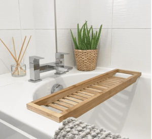 Warm Natural Bamboo Slated Bath Rack