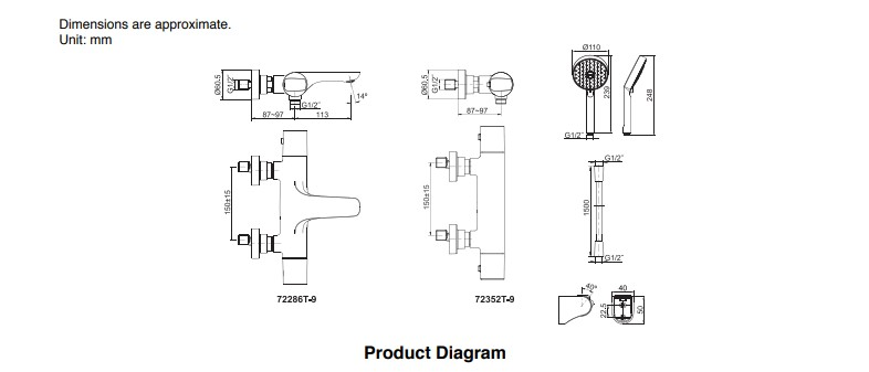 K-72286T-9-CP KOHLER ALEO WALL-MOUNT THERMOSTATIC B/S FAUCET