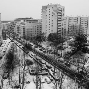 It's about being frozen. Suburban Paris, from the train.